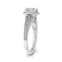 Load image into Gallery viewer, Cushion Diamond Cathedral Style Engagement Ring In 14K White Gold (Semi Mount)