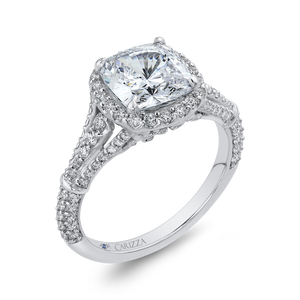 14K White Gold Cushion Diamond Halo Engagement Ring with Split Shank (Semi Mount)