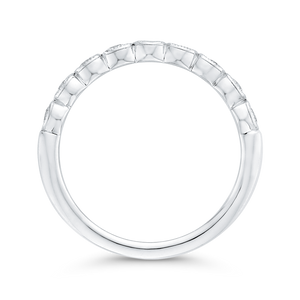 Round Half Eternity Diamond Wedding Band In 14K White Gold