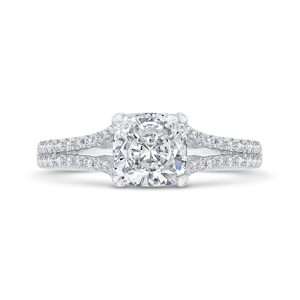 CAU0525EH-37W-1.50 Bridal Jewelry Carizza White Gold Cushion Cut Diamond Engagement Rings