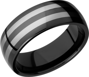 lashbrook ceramic tungsten and ceramic 8mm domed band ct08hr055+polish