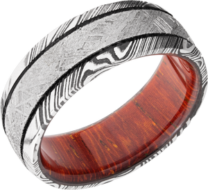 lashbrook hw handmade 8mm damascus steel domed band hwsleeved8d14woodgrain_meteorite_mga_padauk+acid