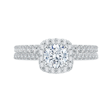 Load image into Gallery viewer, 14K White Gold Round Diamond Halo Engagement Ring