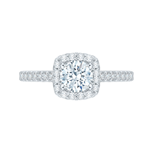 Load image into Gallery viewer, PR0001EC-02W Bridal Jewelry Carizza White Gold Round Diamond Halo Engagement Rings