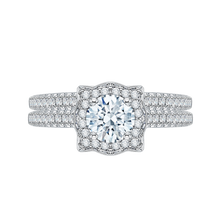Load image into Gallery viewer, 14K White Gold Round Diamond Halo Vintage Engagement Ring
