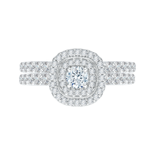 Load image into Gallery viewer, Double Halo Round Cut Diamond Engagement Ring In 14K White Gold