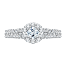 Load image into Gallery viewer, PR0011EC-02W Bridal Jewelry Carizza White Gold Round Diamond Halo Engagement Rings