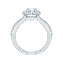 Load image into Gallery viewer, 14K White Gold Round Diamond Halo Engagement Ring Set with Split Shank