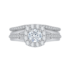 14K White Gold Round Diamond Halo Engagement Ring Set with Split Shank