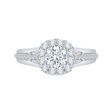 Load image into Gallery viewer, PR0017EC-02W Bridal Jewelry Carizza White Gold Round Diamond Halo Engagement Rings