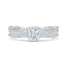 Load image into Gallery viewer, 14K White Gold Round Diamond Floral Engagement Ring