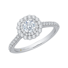 Load image into Gallery viewer, 14K White Gold Round Cut Diamond Double Halo Engagement Ring