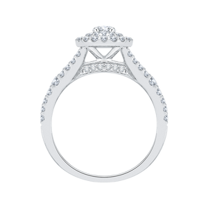 Round Cut Double Halo Diamond Engagement Ring In 14K White Gold with Split Shank