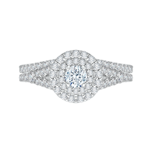 Load image into Gallery viewer, Round Cut Double Halo Diamond Engagement Ring In 14K White Gold with Split Shank