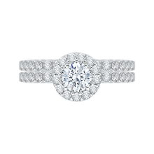 Load image into Gallery viewer, Round Cut Diamond Halo Engagement Ring with 14K White Gold