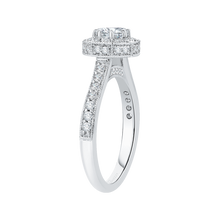 Load image into Gallery viewer, 14K White Gold Round Diamond Octagon Shape Halo Engagement Ring