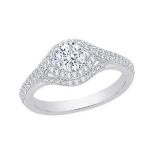 Round Diamond Engagement Ring In 14K White Gold