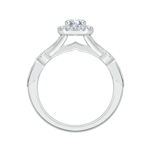 Load image into Gallery viewer, 14K White Gold Round Cut Diamond Halo Engagement Ring