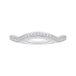 PR0063B-02W Bridal Jewelry Carizza White Gold Round Diamond Wedding Bands