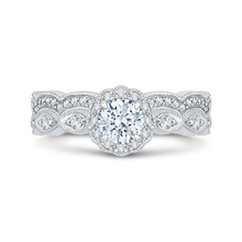 Load image into Gallery viewer, 14K White Gold Round Diamond Floral Halo Engagement Ring