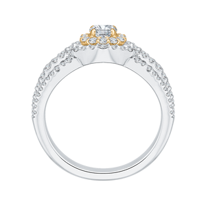 14K Two Tone Gold Round Diamond Halo Engagement Ring
