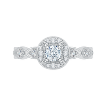 Load image into Gallery viewer, PR0079EC-44W Bridal Jewelry Carizza White Gold Round Diamond Halo Engagement Rings