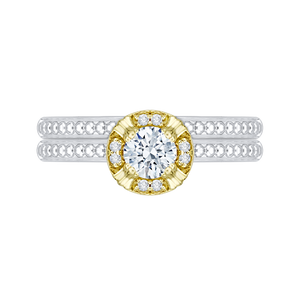 14K Two Tone Gold Round Diamond Engagement Ring