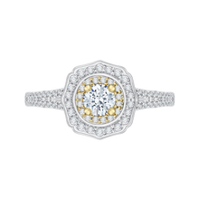 Load image into Gallery viewer, PR0085EC-44WY Bridal Jewelry Carizza White Gold Rose Gold Yellow Gold Round Diamond Double Halo Engagement Rings