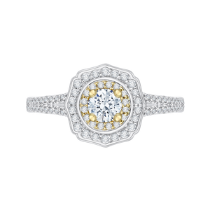 PR0085EC-44WY Bridal Jewelry Carizza White Gold Rose Gold Yellow Gold Round Diamond Double Halo Engagement Rings