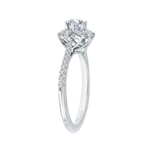 Load image into Gallery viewer, 14K White Gold Round Cut Diamond Floral Halo Engagement Ring