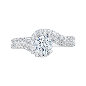 14K White Gold Round Diamond Promise Engagement Ring