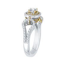 Load image into Gallery viewer, 14K Two Tone Gold Round Diamond Double Halo Engagement Ring With Split Shank