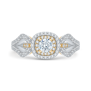 PR0102ECH-44WY Bridal Jewelry Carizza White Gold Rose Gold Yellow Gold Round Diamond Double Halo Engagement Rings