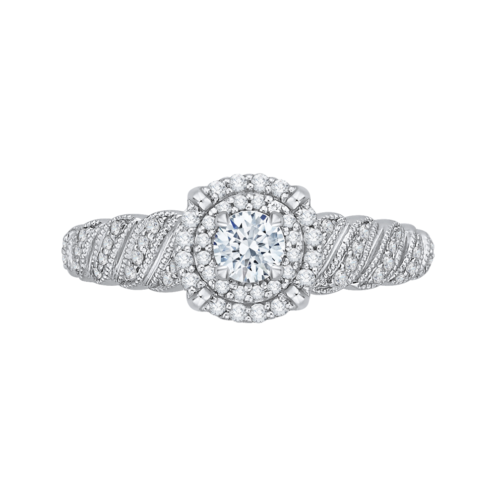 PR0108ECH-44W-.25 Bridal Jewelry Carizza White Gold Round Diamond Double Halo Engagement Rings