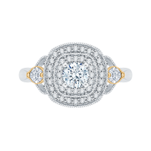 Load image into Gallery viewer, PR0116EC-44WY-.33 Bridal Jewelry Carizza White Gold Rose Gold Yellow Gold Round Diamond Double Halo Engagement Rings
