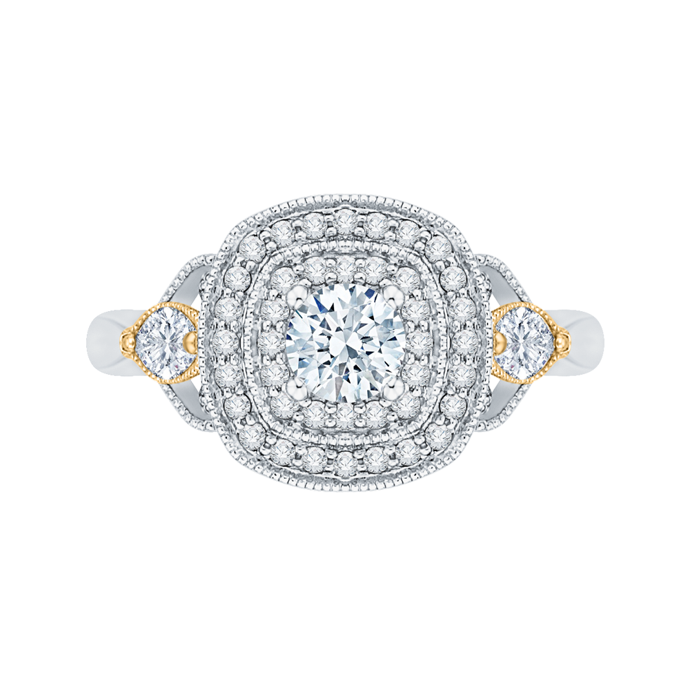 PR0116EC-44WY-.33 Bridal Jewelry Carizza White Gold Rose Gold Yellow Gold Round Diamond Double Halo Engagement Rings
