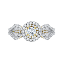 Load image into Gallery viewer, PR0127ECH-44WY-.25 Bridal Jewelry Carizza White Gold Rose Gold Yellow Gold Round Diamond Double Halo Engagement Rings