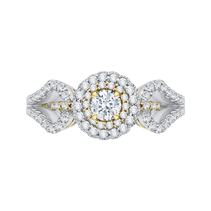 PR0127ECH-44WY-.25 Bridal Jewelry Carizza White Gold Rose Gold Yellow Gold Round Diamond Double Halo Engagement Rings