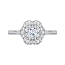 Load image into Gallery viewer, PR0134ECH-44W-.25 Bridal Jewelry Carizza White Gold Round Diamond Halo Engagement Rings