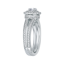 Load image into Gallery viewer, Round Diamond Double Halo Engagement Ring with Split Shank In 14K White Gold