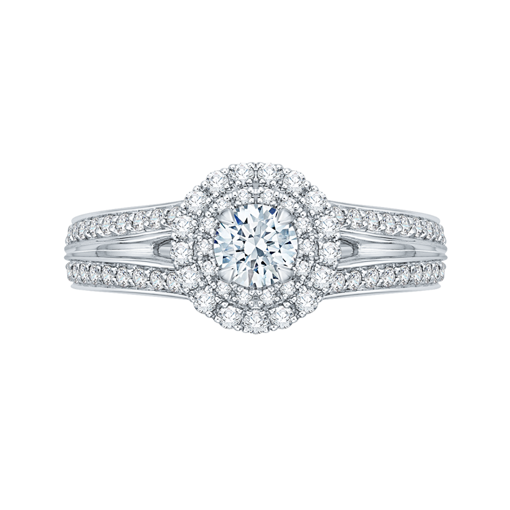 PR0136ECQ-44W-.33 Bridal Jewelry Carizza White Gold Round Diamond Double Halo Engagement Rings