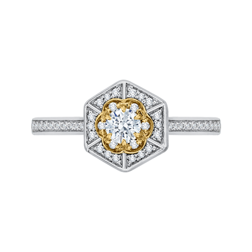 PR0138ECH-44WY-.25 Bridal Jewelry Carizza White Gold Rose Gold Yellow Gold Vintage Round Diamond Engagement Rings