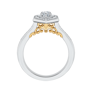 14K Two Tone Gold Round Diamond Vintage Engagement Ring
