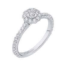 Load image into Gallery viewer, 14K White Gold Round Halo Diamond Floral Engagement Ring
