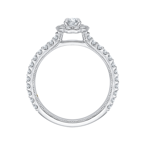 14K White Gold Round Halo Diamond Floral Engagement Ring