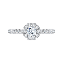 Load image into Gallery viewer, PR0141ECQ-44W-.25 Bridal Jewelry Carizza White Gold Round Diamond Halo Engagement Rings