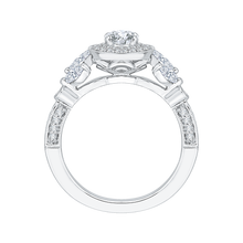 Load image into Gallery viewer, 14K White Gold Round Diamond Double Halo Floral Engagement Ring