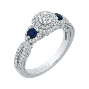 14K White Gold Round Cut Diamond And Sapphire Three Stone Halo Engagement Ring