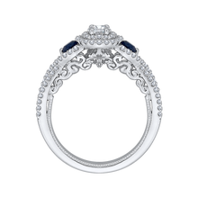 Load image into Gallery viewer, 14K White Gold Round Cut Diamond And Sapphire Three Stone Halo Engagement Ring