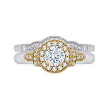 Load image into Gallery viewer, Round Diamond Halo Engagement Ring In 14K Two Tone Gold